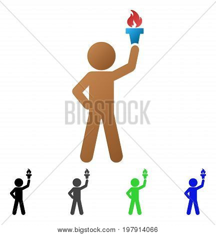 Child With Freedom Torch flat vector illustration. Colored child with freedom torch gradient, gray, black, blue, green pictogram variants. Flat icon style for graphic design.