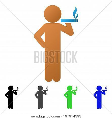 Smoking Child flat vector pictogram. Colored smoking child gradient, gray, black, blue, green icon versions. Flat icon style for web design.