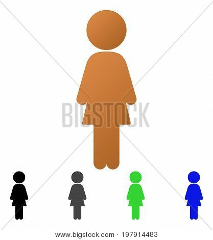 Standing Girl flat vector icon. Colored standing girl gradiented, gray, black, blue, green pictogram versions. Flat icon style for application design.