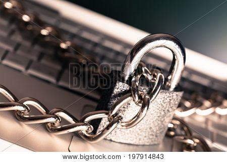 Laptop chain lock padlock white computer background