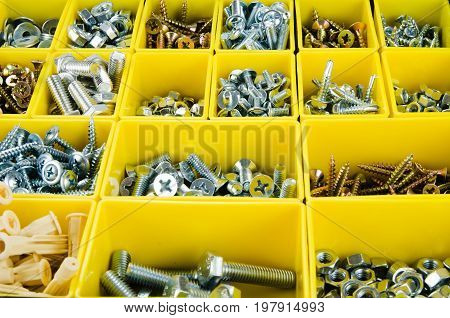 Yellow set tools toolbox objects background metal