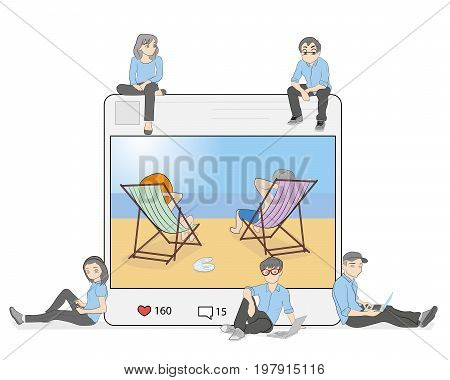 Illustrations of a photo with a rest, taking a photo and publication in social networks. Flat people sit in a big picture and leave comments and love her message. vector illustration.
