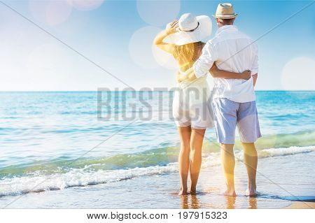 Young sea couple female adult people outdoors