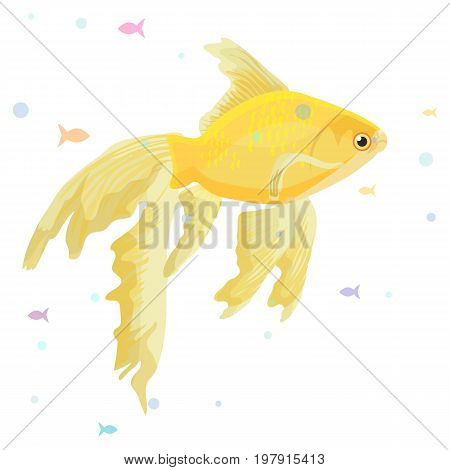 Realistic aquarium with gold fish make a wish vector illustration