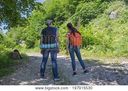 Active and healthy lifestyle on summer vacation and weekend tour. Active hikers. Travel adventure and hiking activity. Travel adventure and hiking activity