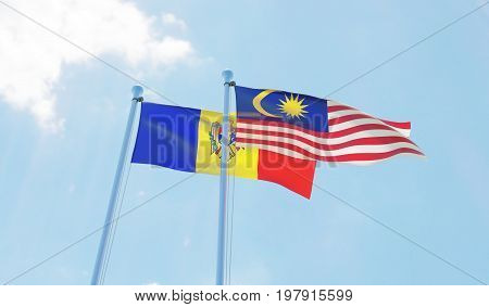 Malaysia and Moldova, two flags waving against blue sky. 3d image