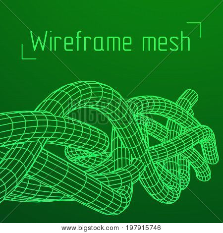 Low poly vein or wire wireframe mesh background. Scinece and tech vector illustration.