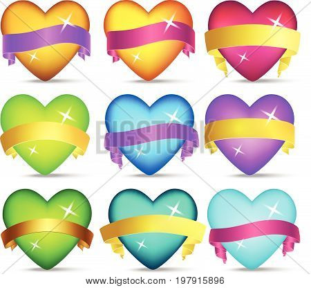A set of sparkling cartoon glossy hearts and ribbons in different colors..Vector colorful life assets for gui design. Game elements love symbols.