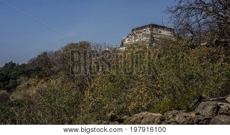 Tepoztlan Mexico - January 4 2017: Visitors on the temple of