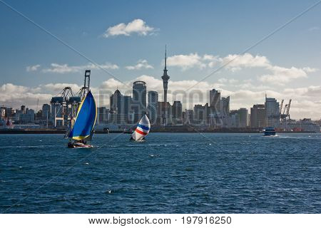 View of sailing boats on the coastline of Auckland, New Zealand