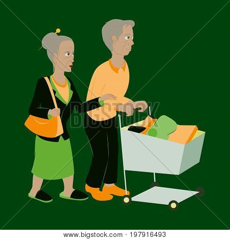 Pensioners with a trolley products business, fashion, design
