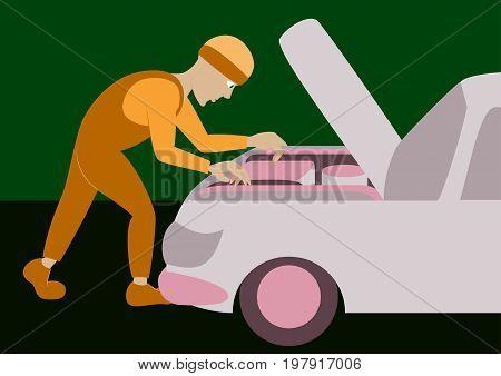 Mechanic repairs car motor business mechanical industry