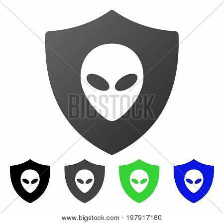 Alien Protection flat vector icon. Colored alien protection gradiented, gray, black, blue, green icon versions. Flat icon style for graphic design.