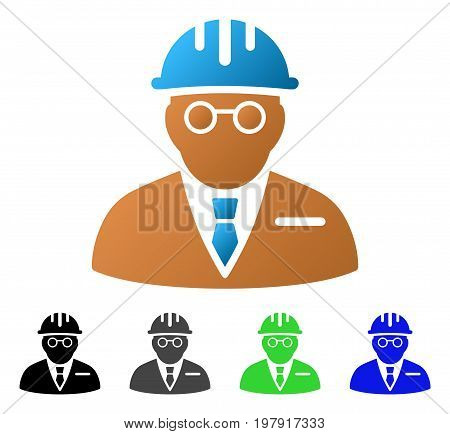Blind Engineer flat vector pictogram. Colored blind engineer gradiented, gray, black, blue, green icon versions. Flat icon style for graphic design.