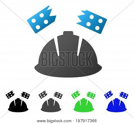 Brick Helmet Accident flat vector icon. Colored brick helmet accident gradient, gray, black, blue, green pictogram variants. Flat icon style for graphic design.