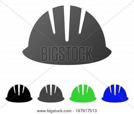 Builder Helmet flat vector icon. Colored builder helmet gradient, gray, black, blue, green pictogram variants. Flat icon style for application design.