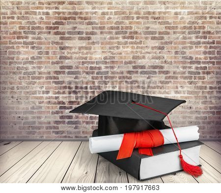 Hat diploma graduation health care mortar board color image