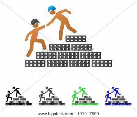 Builder Stairs Help flat vector pictogram. Colored builder stairs help gradient, gray, black, blue, green pictogram variants. Flat icon style for graphic design.