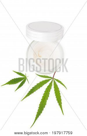 Moisturizing Cannabis Hand Cream in silver dose isolated on white background top view. Marijuana natural cosmetics.