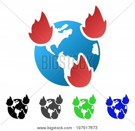 Earth Disasters flat vector illustration. Colored earth disasters gradiented, gray, black, blue, green icon versions. Flat icon style for graphic design.