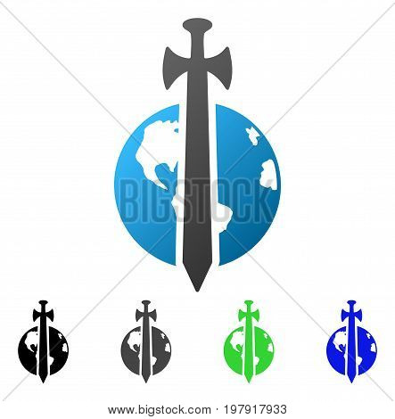 Earth Military Protection flat vector icon. Colored earth military protection gradiented, gray, black, blue, green icon variants. Flat icon style for graphic design.