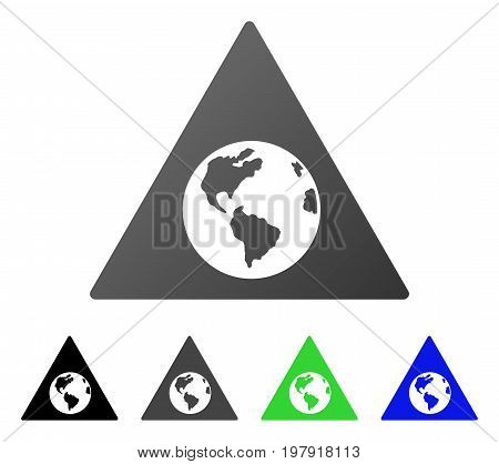 Earth Warning flat vector pictograph. Colored earth warning gradiented, gray, black, blue, green pictogram versions. Flat icon style for web design.