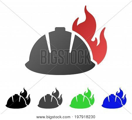 Fire Helmet flat vector icon. Colored fire helmet gradient, gray, black, blue, green pictogram variants. Flat icon style for web design.