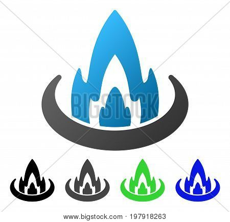 Fire Location flat vector illustration. Colored fire location gradiented, gray, black, blue, green icon versions. Flat icon style for graphic design.