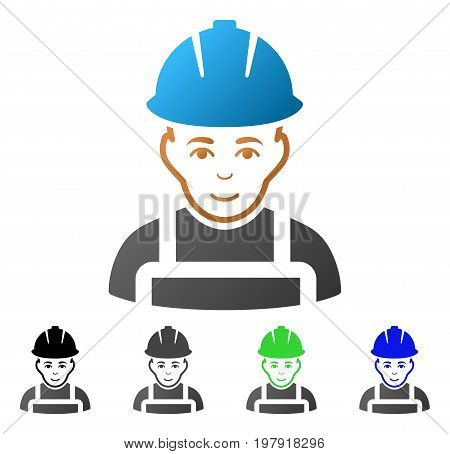 Glad Worker flat vector icon. Colored glad worker gradient, gray, black, blue, green pictogram variants. Flat icon style for graphic design.