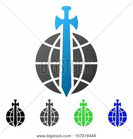 Global Guard flat vector illustration. Colored global guard gradient, gray, black, blue, green pictogram versions. Flat icon style for graphic design.