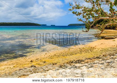 Vava'u archipelago Neiafu Tonga. View of tropical beach in the Vava`u island.