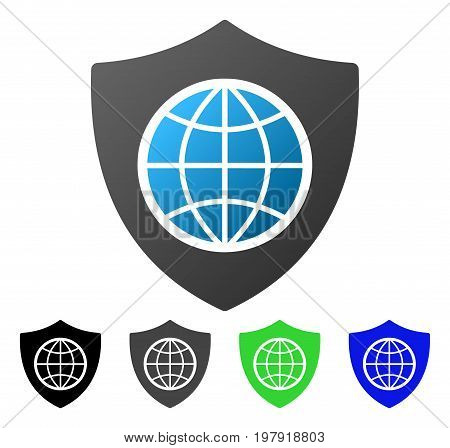 Global Shield flat vector illustration. Colored global shield gradient, gray, black, blue, green icon versions. Flat icon style for web design.