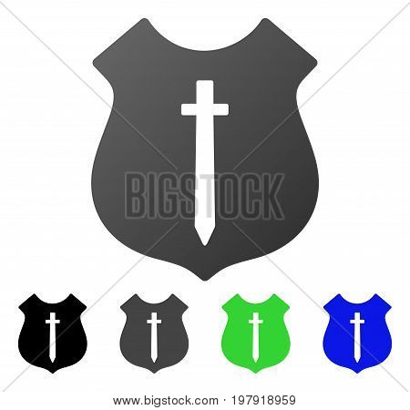 Guard Shield flat vector pictograph. Colored guard shield gradiented, gray, black, blue, green icon versions. Flat icon style for web design.