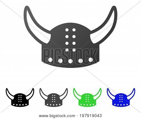 Horned Helmet flat vector pictograph. Colored horned helmet gradient, gray, black, blue, green icon versions. Flat icon style for graphic design.