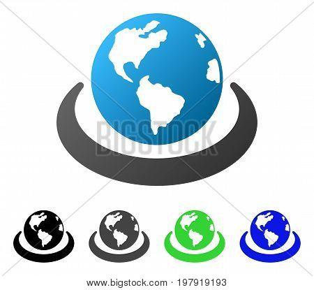 International Network flat vector illustration. Colored international network gradiented, gray, black, blue, green icon variants. Flat icon style for application design.