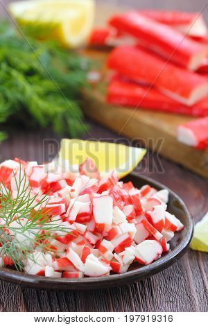 Salad With Crab Sticks Prepared For Eating