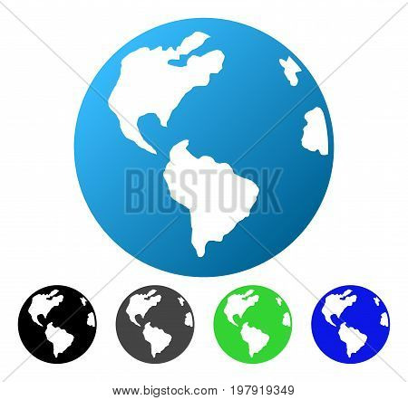 Planet Earth flat vector pictograph. Colored Planet earth gradiented, gray, black, blue, green icon versions. Flat icon style for application design.