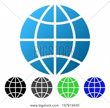 Planet Globe flat vector illustration. Colored Planet globe gradiented, gray, black, blue, green pictogram versions. Flat icon style for graphic design.