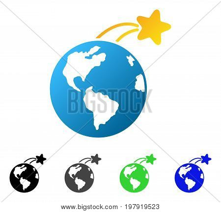 Rising Satellite On Earth flat vector illustration. Colored rising satellite on earth gradient, gray, black, blue, green pictogram variants. Flat icon style for graphic design.