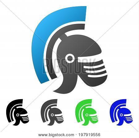 Rome Helmet flat vector illustration. Colored rome helmet gradient, gray, black, blue, green pictogram variants. Flat icon style for graphic design.