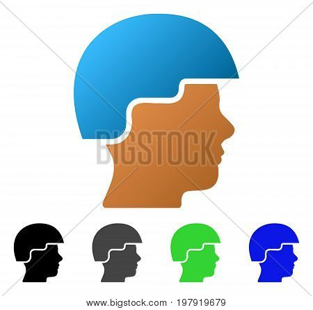 Soldier Helmet flat vector illustration. Colored soldier helmet gradient, gray, black, blue, green icon variants. Flat icon style for application design.