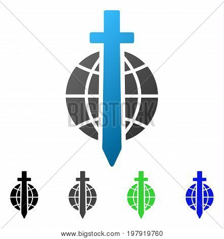 Sword Globe flat vector pictograph. Colored sword globe gradiented, gray, black, blue, green icon variants. Flat icon style for graphic design.