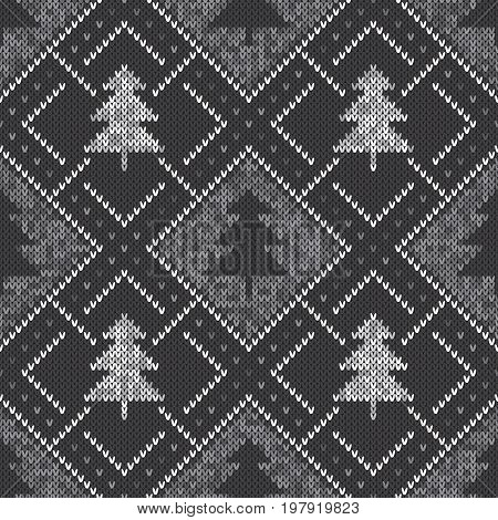 Winter Seamless Knitted Pattern with a Christmas Trees. Knitting Sweater Design. Wool Knitted Texture with Shades of Gray Colors