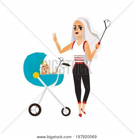 Vector woman with baby in stroller make selfie . Flat cartoon Isolated illustration on a white background. Female adult, infant makes photo by selfie stick on vacation