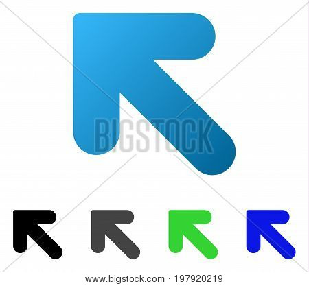 Arrow Up Left flat vector pictogram. Colored arrow up left gradiented, gray, black, blue, green icon variants. Flat icon style for application design.