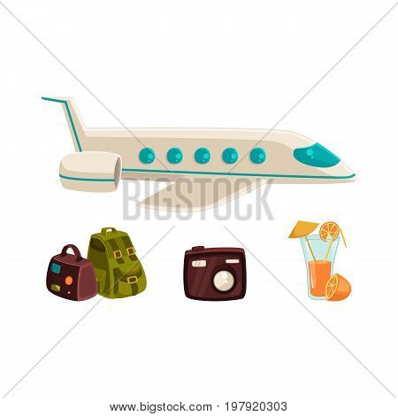 Travel objects - plane, bags, digital camera and orange juice, vacation elements, cartoon vector illustration isolated on white background. Tourist objects - travel bags, camera, air plane, cocktail