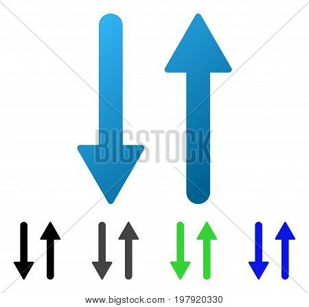 Arrows Exchange Vertical flat vector illustration. Colored arrows exchange vertical gradient, gray, black, blue, green pictogram versions. Flat icon style for graphic design.