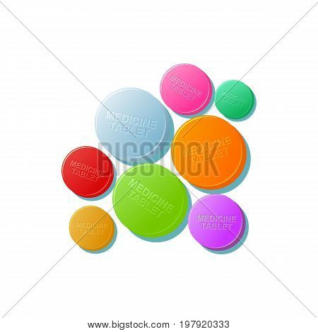 Vector pills colored set flat cartoon illustration isolated on a white background. Cold and flu treatment concept, medicine and drugs. Cartoon illness therapy tools