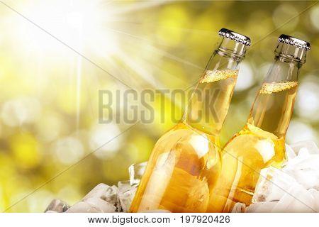 Ice bottles beer bar color pub background