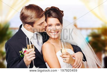 Holding couple wedding champagne glasses champagne glasses wedding ceremony